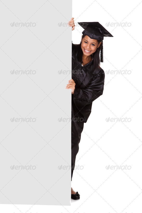 PhotoDune Graduate Woman Holding Placard 3944656