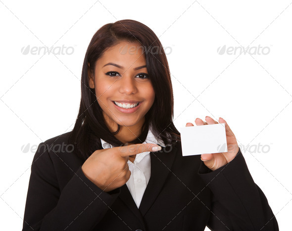 PhotoDune Happy Businesswoman Holding Visiting Card 3944664