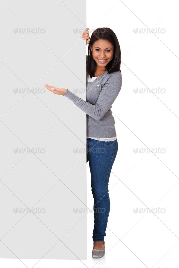 PhotoDune Young Woman Holding Placard 3944666