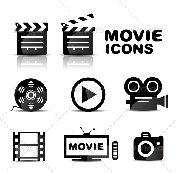 Movie black glossy icon set