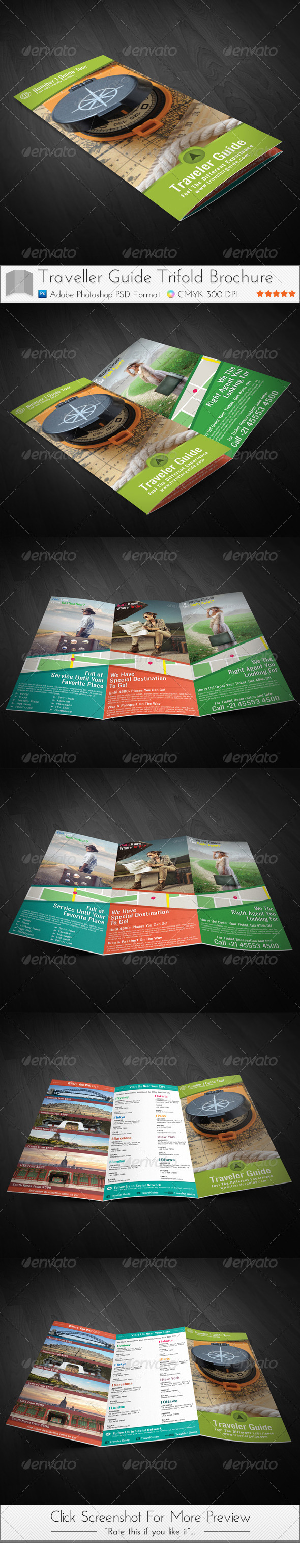 Traveler Guide Trifold Brochure - Brochures Print Templates