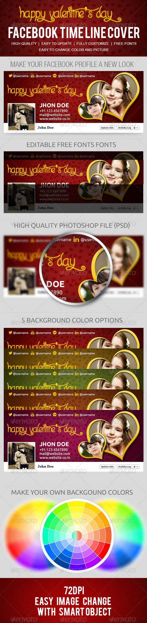 GraphicRiver Happy Valentines Fb Timeline Cover 3860893