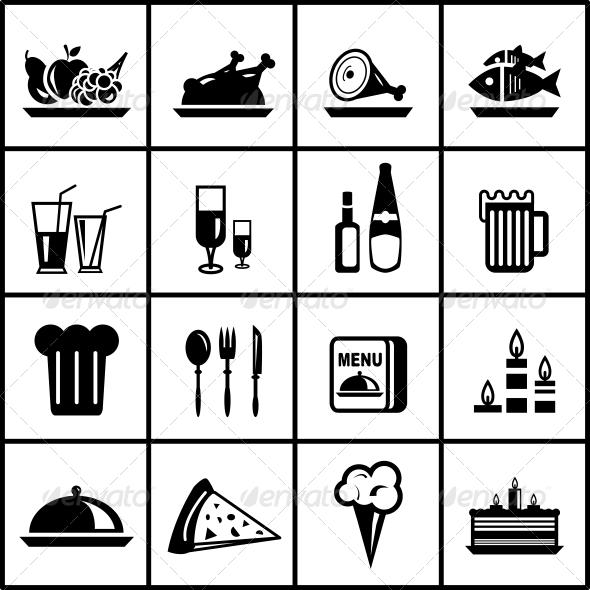 GraphicRiver Vector Restaurant Food Black Icon Set 3945193