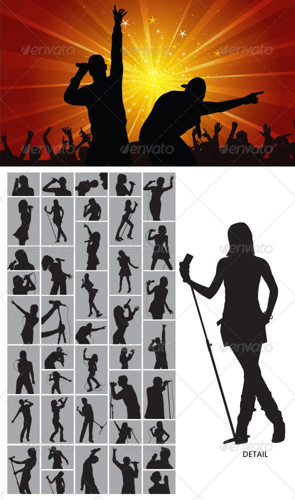GraphicRiver Singer Silhouette 3945404