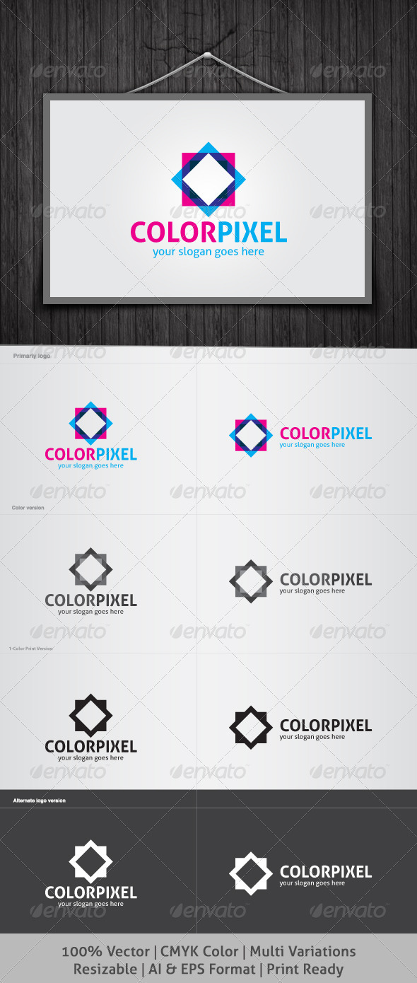 Color Pixel Logo - Abstract Logo Templates