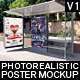Realistic Bus Stop Flyer Poster Mockup 01