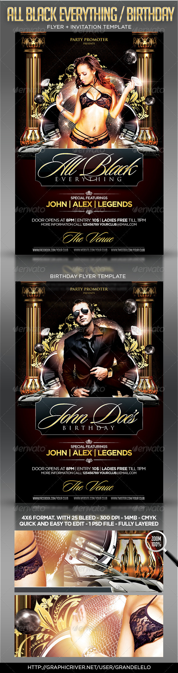 All Black / Birthday Party Flyer Template - Clubs & Parties Events
