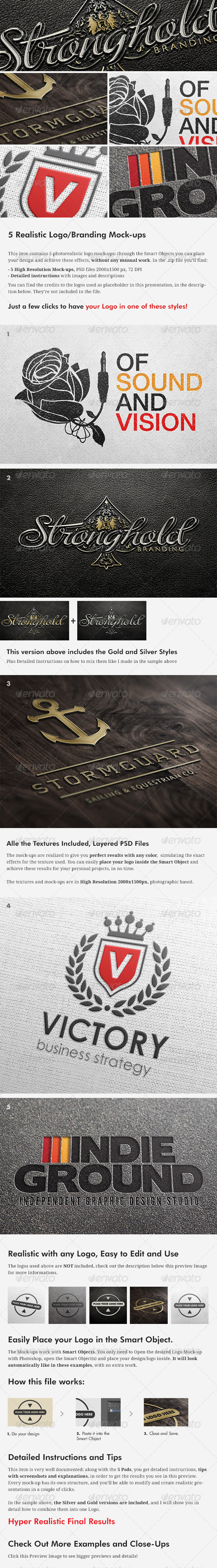 GraphicRiver 5 Realistic Logo Branding Mock-ups Layered PSD s 3946046