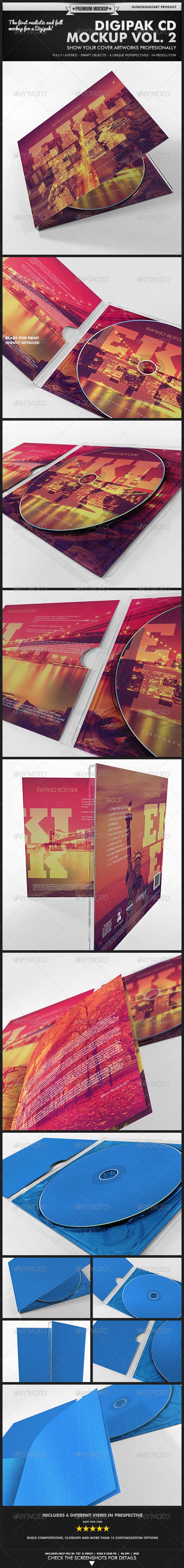 GraphicRiver Digipak CD Mockup Vol 2 Kit 3946656