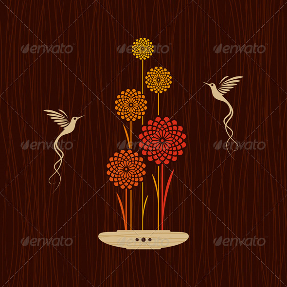 GraphicRiver Card With Birds And Flowers 3946693
