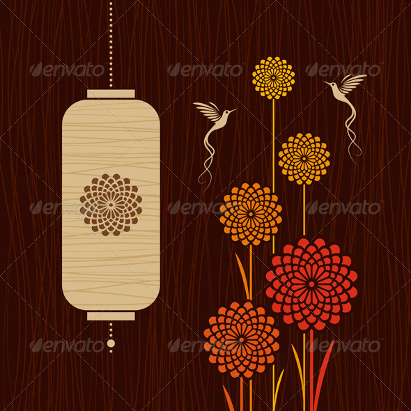 GraphicRiver Card With Birds Flowers And Lantern 3946720