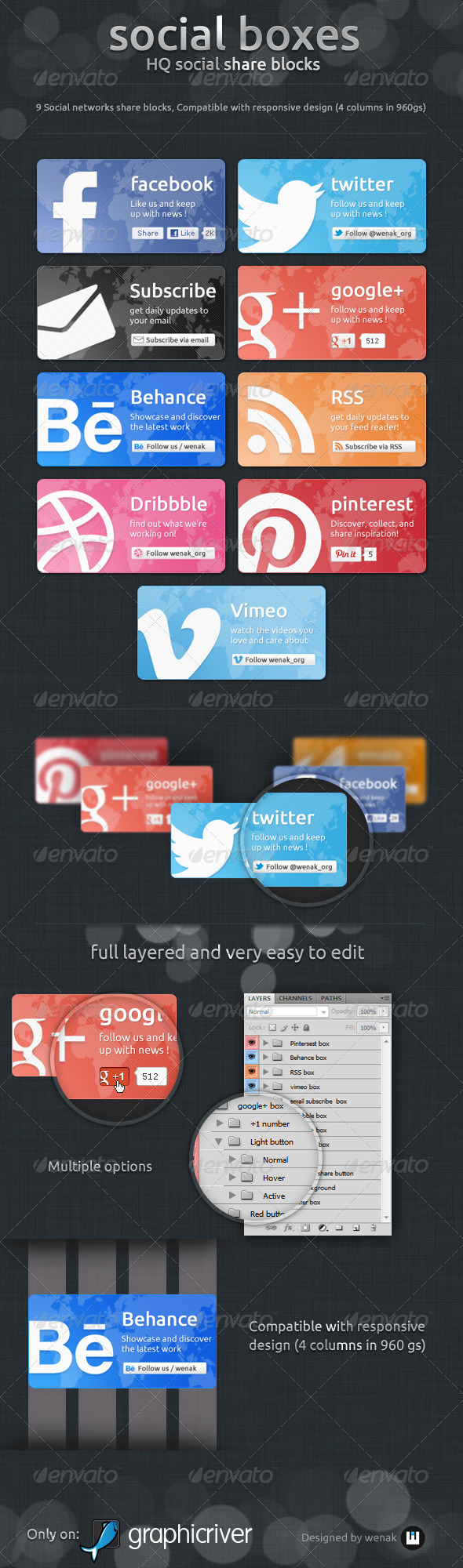 Social Boxes - Social Share Blocks   - Social Media Web Elements