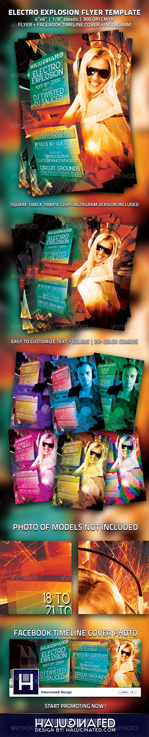 Electro Explosion Party Flyer Template - Events Flyers