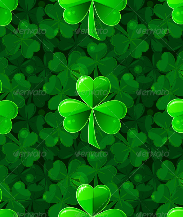 Vector Green Seamless Background with Clover - Patterns Decorative