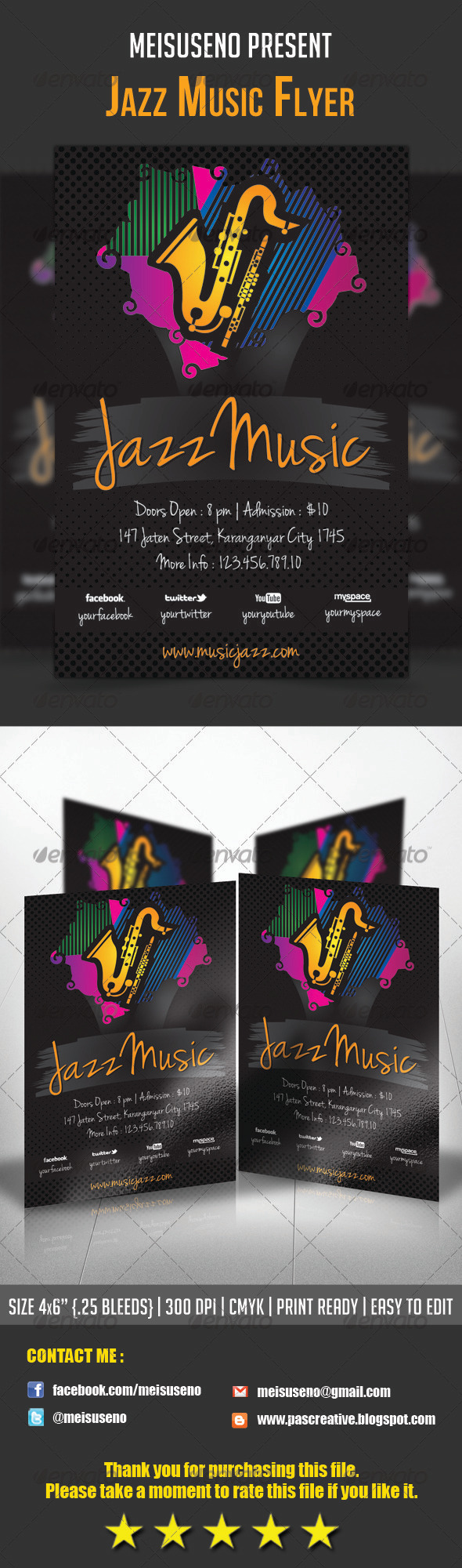 Jazz Music Flyer Template - Concerts Events