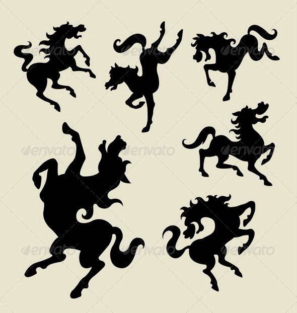 Horse dancing silhouette vector - Animals Characters