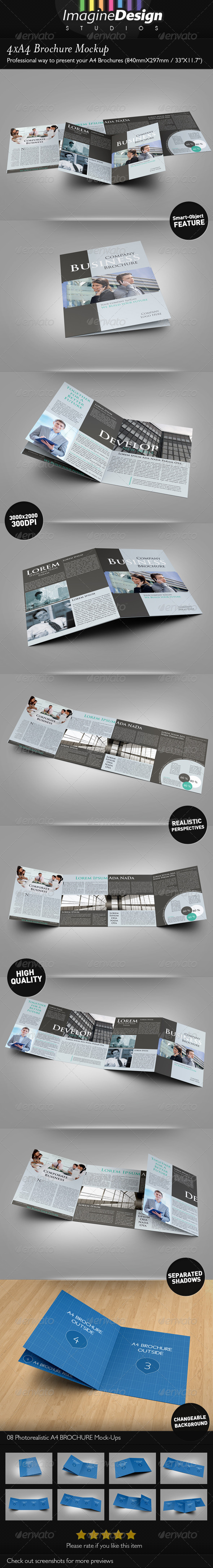 GraphicRiver 4xA4 Brochure Mock-up 3948387