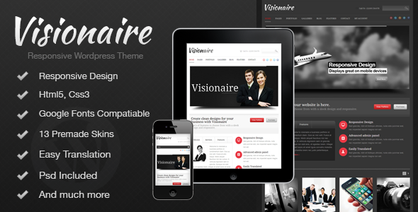 ThemeForest Visionaire Responsive Business Wordpress Theme 3933708