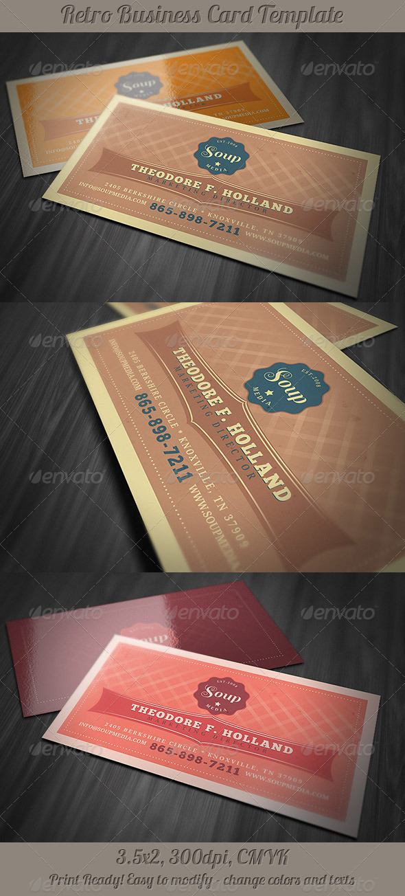GraphicRiver Retro Business Card Template 3948426