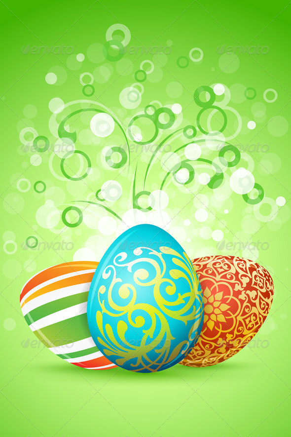 GraphicRiver Easter Background with Decorated Eggs 3948931