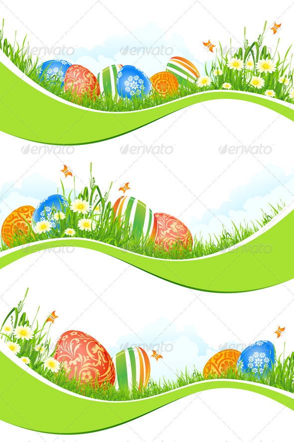 GraphicRiver Easter Banners Set Isolated on White 3948997
