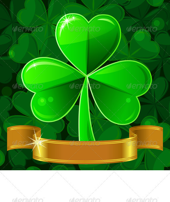 Vector Patrick's Greeting Card with Clover - Seasons/Holidays Conceptual