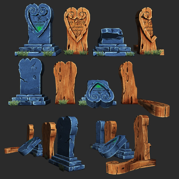 Low Poly Gravestone  4 - 3DOcean Item for Sale