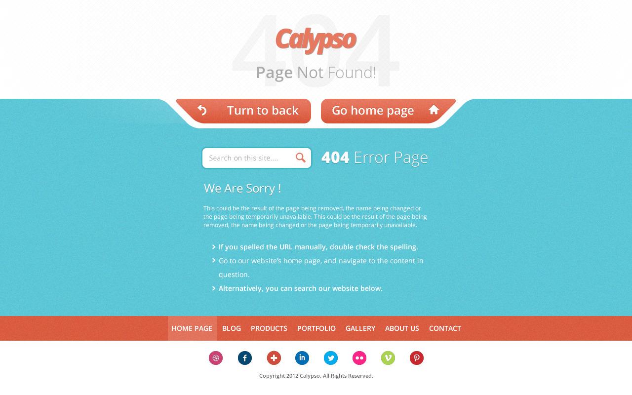 Calypso - Responsive HTML Error Page