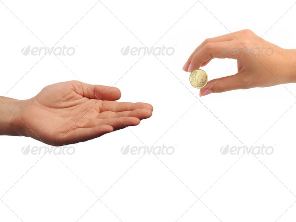 PhotoDune A female hand with coin isolated 3963679
