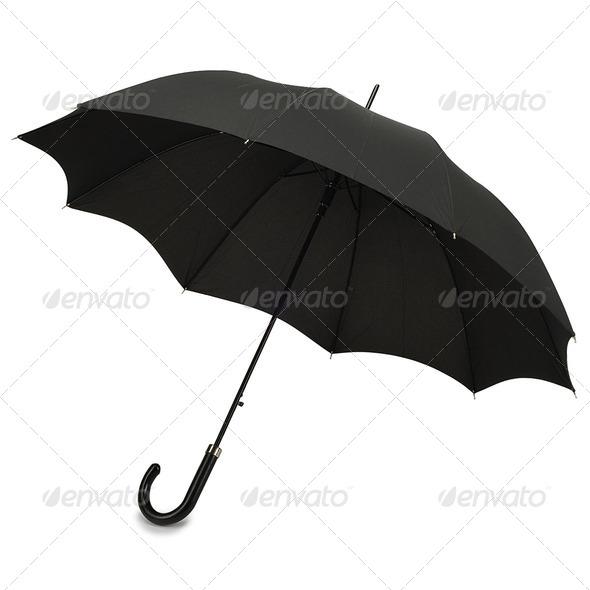 PhotoDune Black umbrella on white background 3964003