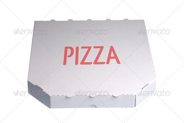 PhotoDune White pizza delivery box isolated against white background 3964139