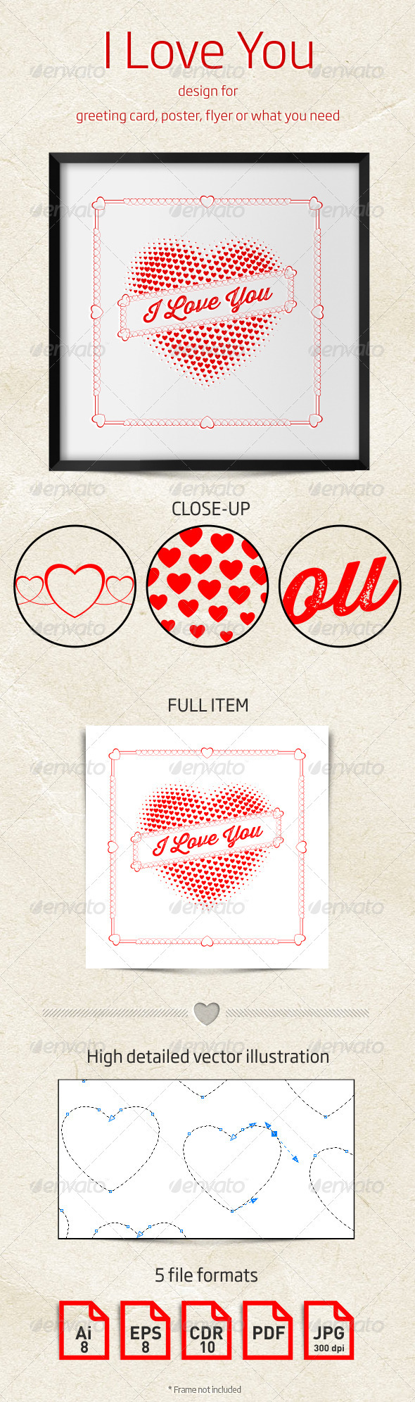 GraphicRiver I Love You Design for Greeting Card or Poster 3952377