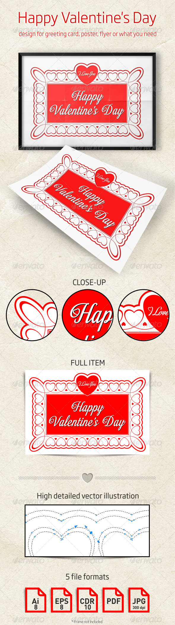 GraphicRiver Valentine's Day Design for Greeting Card Poster 3952392