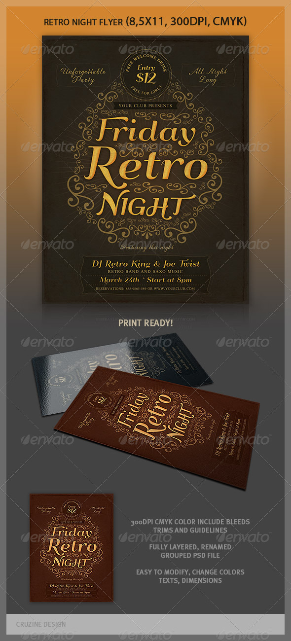 GraphicRiver Typographic Retro Flyer Template 3952798