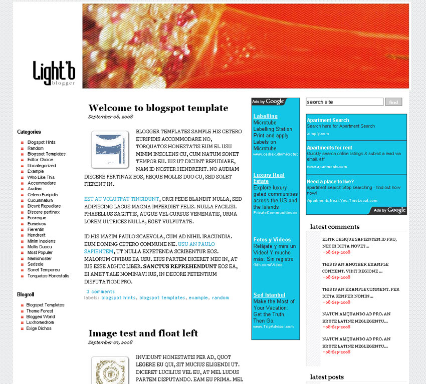 Light'B Blogger Templates
