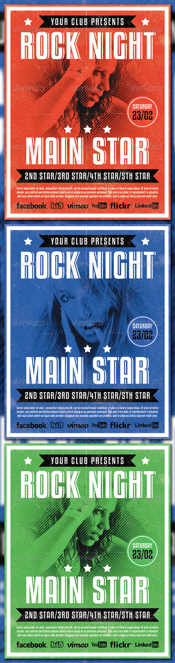 GraphicRiver Rock Night Flyr Template 3952813