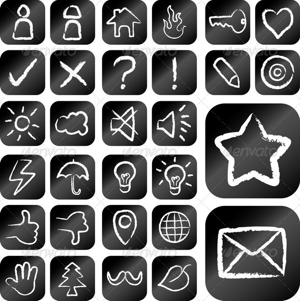 GraphicRiver Icon Chalk Drawing Style 3953102