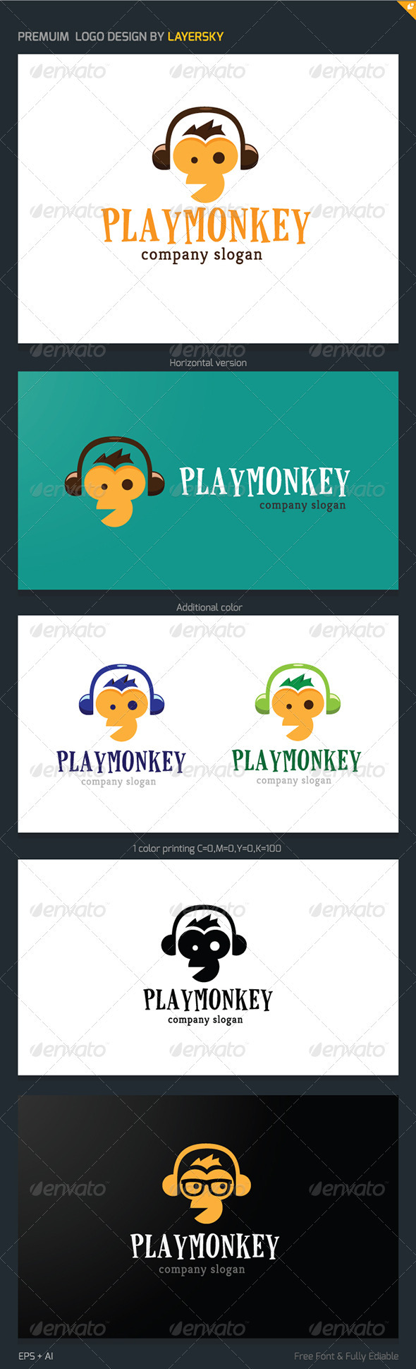 GraphicRiver Play Monkey Logo 3846394