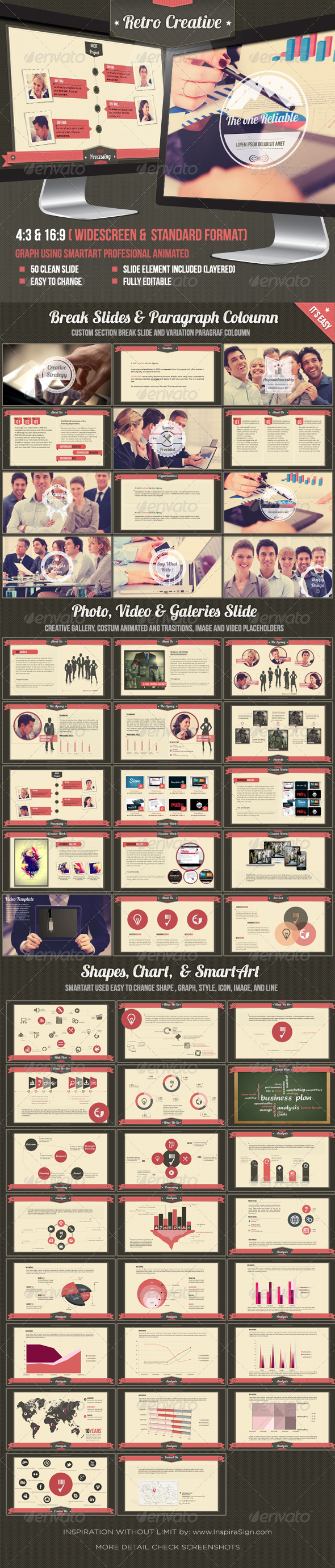 GraphicRiver Retro Business Creative Agency Powerpoint Template 3954933