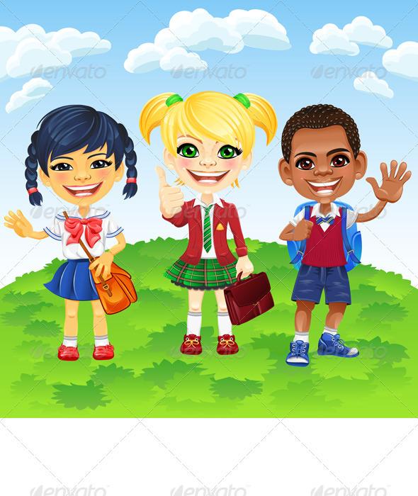 Vector Smiling Schoolchildren Boy and GirlS - People Characters