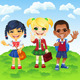 Vector Smiling Schoolchildren Boy and GirlS - GraphicRiver Item for Sale