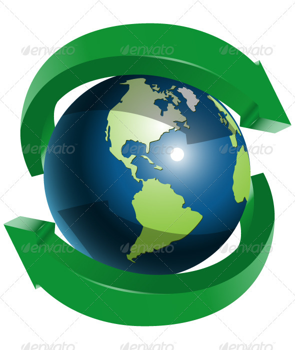 GraphicRiver Globe and Two Green Arrows 3955681
