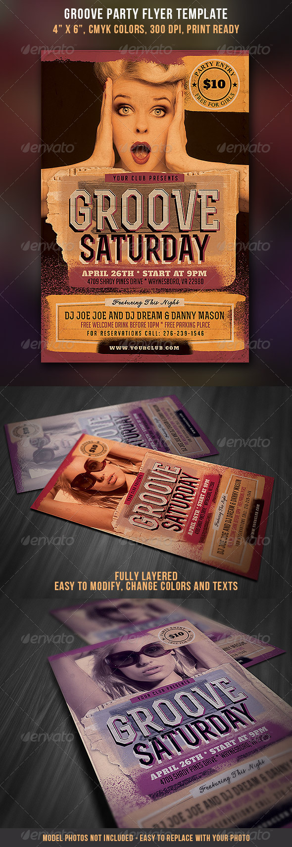 GraphicRiver Groove Party Flyer Vintage Style 3956244