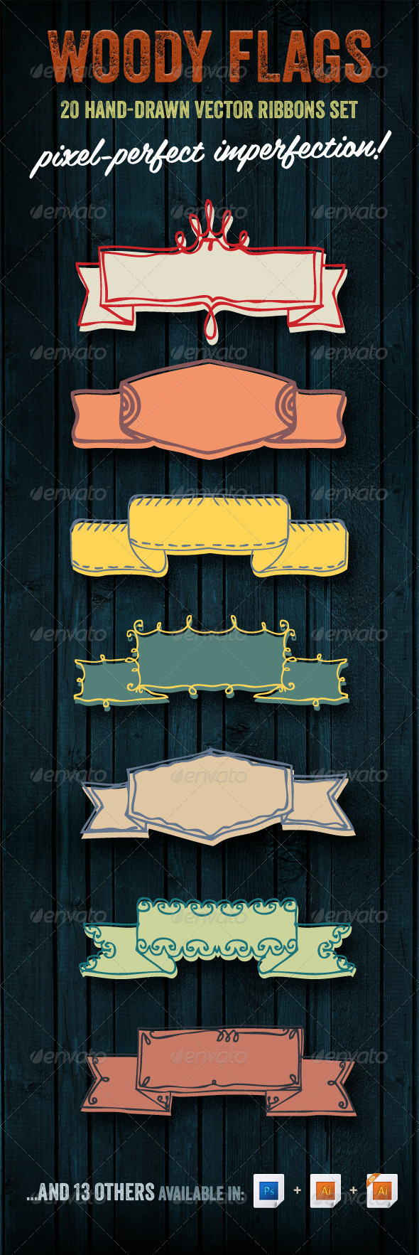 Woody Flags | 20 Hand-drawn Vector Ribbons Set - Decorative Symbols Decorative