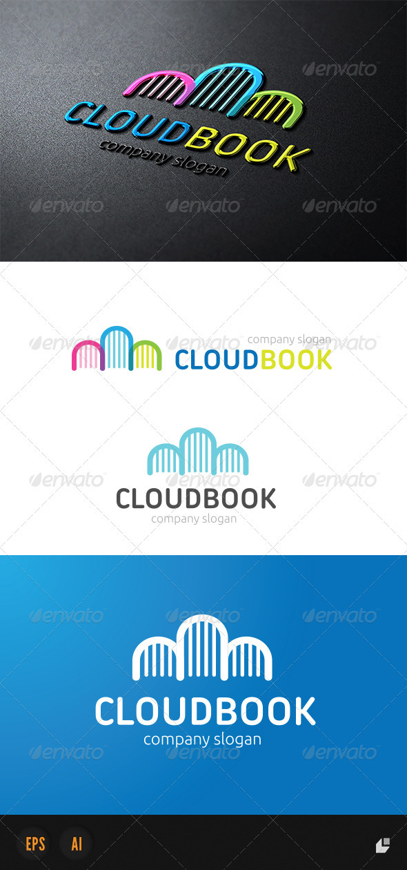 GraphicRiver Cloud Book Logo 3956606