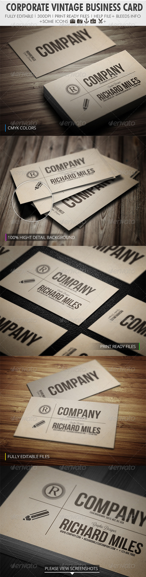 Corporate Vintage Business Card - Retro/Vintage Business Cards