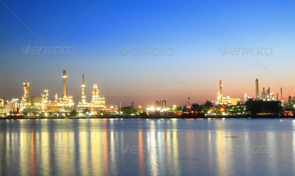PhotoDune Oil refinery at twilight panorama 3969884