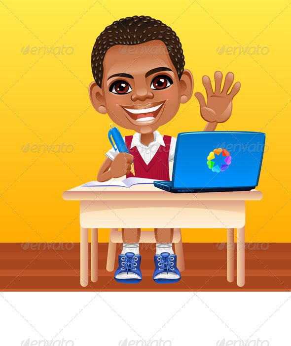 Vector happy smiling African schoolboy - People Characters