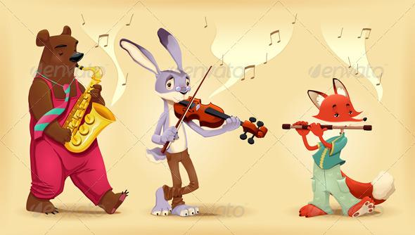 GraphicRiver Musician animals 3958190