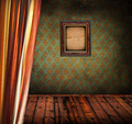 Retro room with curtain and wooden photo frame - PhotoDune Item for Sale